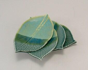 Ceramic Plates-Pottery Leaf Plates-Teal Pottery-Stoneware Plates-Dessert Plates-Appetizer Plates