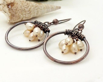 Peach pearl earrings, freshwater pearl and copper hoop earrings, genuine copper wire wrapped jewelry