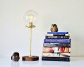 Globe Table Lamp, Industrial Brass and Wood Desk Lamp, Round Clear Glass Orb Shade, Modern BootsNGus Lighting & Home Decor
