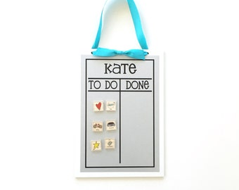 Chore Chart + 12 Magnets   -  9 x 13 magnetic, personalized chore board