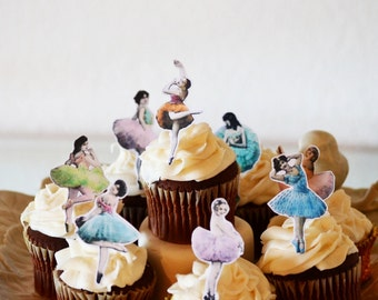 Edible Dancers - Vintage Ballet Cake & Cupcake toppers - Food Decorations