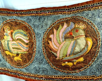 Vintage Sequined Embroidered WOW Bird Wall Hanging -  Burmese Kalaga Tapestry