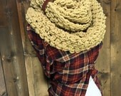 Chunky Cowl Infinity Crochet Neckwarmer with Leather Cuff- SAANICH - SAND