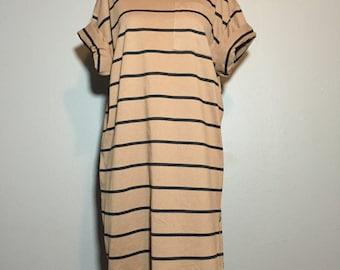 Vintage 90's Minimalist Neutral Striped Tee Tunic Mini Dress T-Shirt Pocket S
