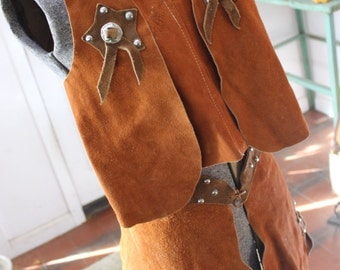 Leather Chaps Vest Cowboy outfit Costume dress up Childs size 10 VINTAGE by Plantdreaming