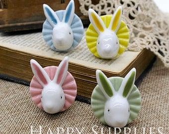50% off - 1pcs Handmade Rabbit Portrait Ceramic Pendant (PC019) - [Designer Series]