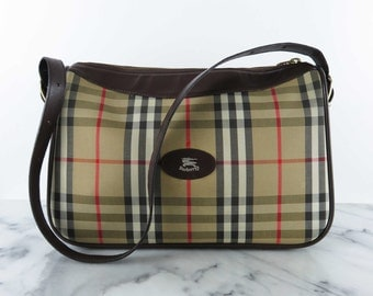 Vintage BURBERRYS Plaid Check Leather Shoulder Bag Canvas Authentic Vintage Burberry Purse