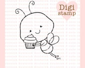 Cupcake Bee Digital Stamp - Birthday Stamp - Digital Cupcake Stamp - Bee Art - Bee Card Supply - Birthday Craft Supply