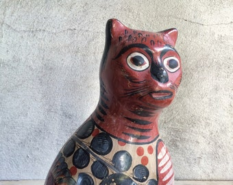 "Vintage large 14"" Tonalá signed burnished pottery cat statue, Mexico pottery cat, Mexican folk art, cat lover gift, cat decor, Tonala cat"