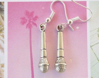 Microphone Music Sing Jewelry Earrings