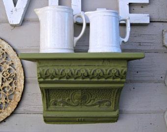 Ceiling tin wall shelf.  Antique Architectural salvage shelf.  Bathroom kitchen shelf. Green Floating shelf.  Vintage shelf.