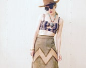 Leather Suede Skirt... Killer Zig Zags... 1970s Style Sass