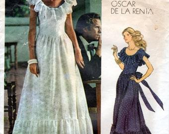 1970s Designer Peasant Dress Pattern by Oscar de la Renta - Vintage Vogue Americana 1043 - Size 8 Bust 31