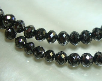 1 pc, 3.0-3.2mm, High Quality Black Diamond, Faceted Rondelle, Precious Gemstone, April Birthstone