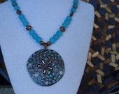 Sand dollar necklace, blue necklace, blue and copper, ocean blue, beach necklace, copper sanddollar, pendant necklace, aqua blue