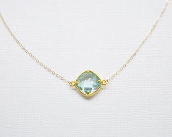 Aqua Blue Crystal Necklace - stone gem solitaire choker on gold filled chain something blue dainty sparkle