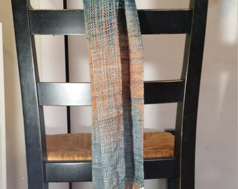 Handwoven scarf, pooling, blue, orange, and grey