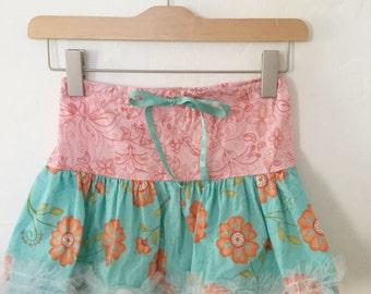 Handmade / Toddler / Little Girl / Orange Flowers / Turquoise / Paisley / Drawstring / Netted Ruffle / Skirt / Size 3 T / 4 T
