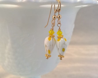 Millefiori Venetian Glass Earrings 14k Gold Filled