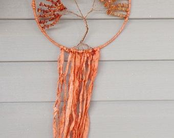 Orange Tree of Life Dreamcatcher, Carnelian Tree of Life, Gemstone Tree of Life, FREE US SHIPPING