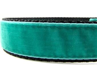 """Teal Velvet Dog Collar - Velvet Dog Collar - Dressy Dog Collar - Velvet Collar - 1"""" Wide Dog Collar"""