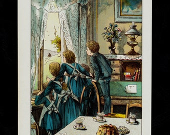 1892 FAIRY TALES Antique print,  original antique chromolithograph,  Children looking out the window