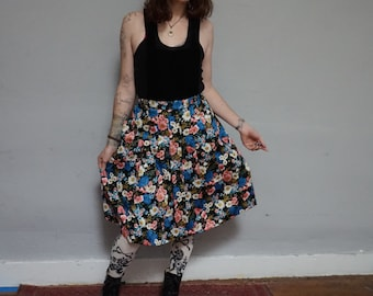 preppy 80s high waist lolita kawaii grunge kitsch floral flower print skirt knife accordion pleat skirt medium m cottage chic womens dress L