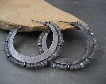 Crescent hoop earrings with labradorite  - solid sterling silver