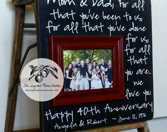 40th Anniversary Gifts, For All That You Have Been To Us, Anniversary Picture Frame, 16x16 THE SUGARED PLUMS