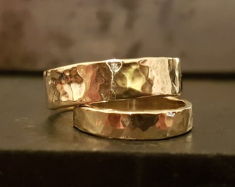 9k Gold Wedding Band Ring Choice, Women Band Ring, Men Band Ring, Handmade, Bridal Jewelry