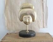 Vintage Brass Geisha Face on Stand, Brass Mask