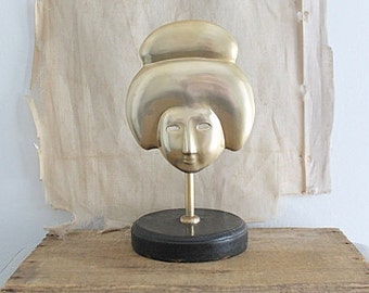 Vintage Brass Geisha Face on Stand, Brass Mask