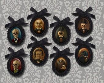 Gothic Brooch - Victorian Brooch - Black Beaded Brooch - Skeleton Brooch - Raven Brooch - Poe Brooch - Halloween Brooch