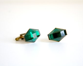 Hickok Green Jewel Cuff Links