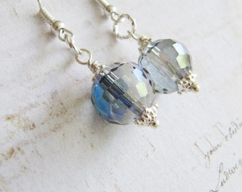 Blue crystal earrings, blue and grey jewelry, dangle, crystal jewelry, womens jewelry, silver, Europe