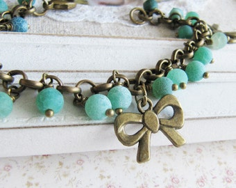 Blue bracelet, blue beaded bracelet, romantic blue jewelry, bow bracelet, bronze vintage style jewelry, for her, Europe