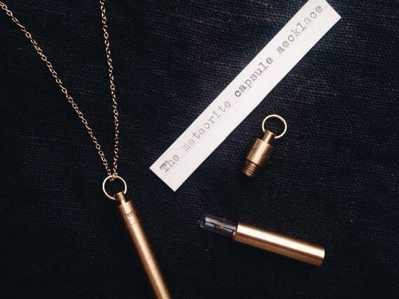 Meteorite Fragment Time Capsule Pendant Necklace