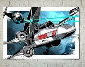 Star Wars Art - Tie Fighter X-Wing battle - Star Wars Poster, Art Print, Star Wars Print, fan art illustration, Star Wars gift, watercolor