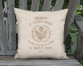 Grain Sack Style Bastide Pillow Cover - Linen Cotton French Country Pillow - 12x 14x 16x 18x 20x 22x 24x 26x 28x 30x 32x Inch Cushion Cover