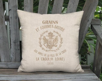Pillow Cover - Pillow - Grain Sack Style Bastide Linen Cotton French Country Pillow - 16x 18x 20x 22x 24x 26x 28x 30x 32x Inch Cushion Cover
