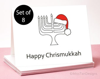 Chrismukkah Card Set of 8 - Holiday Cards - Unique Gift