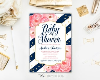 Baby Shower Invitation, Baby Shower Invite, Navy Pink Baby Shower Invite, Baby Girl Shower Invitation, Baby Shower Invitation Girl, Invites