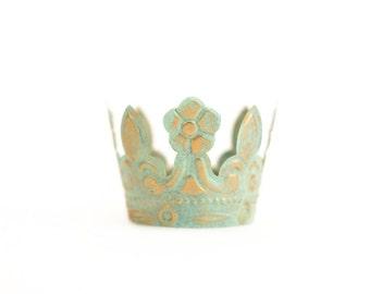 Mint Green Crown Cake Topper, Rustic Crown, Mini Crown, Princess Crown