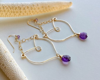 Amethyst Hoop Earrings, Purple Amethyst Chandelier, Bollywood Hoop Earrings, Purple Gemstone Hoops, Boho Chandelier Earrings:  Ready to Ship