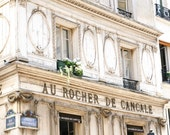 Paris Print - Travel Photography - Au Rocher de Cancale Photo - Cafe Photograph - French Decor - Parisian Kitchen Wall Art - Light Cream