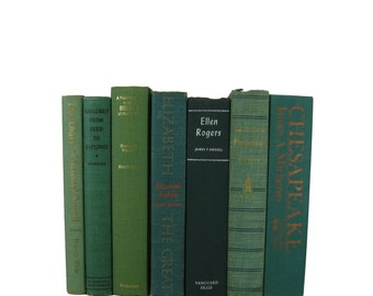 Green  Vintage Decorative Book Set for Book Home Decor, Gift for  Book Lover,  Wedding Decor, Photo Prop, Used Books, Old Book Decoration