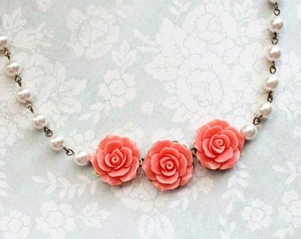 Coral Rose Necklace Statement Necklace Bridal Jewelry Pearl Chain Flower Bib Necklace Romantic Vintage Style Bridal Accessories Summer Style