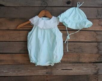 Vintage Little Girls Green & White Polka Dot Ruffle Floral Romper
