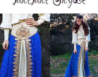 Skirt 70s Vintage MAXI Skirt Royal GOLD Embroidered Inverted Under Skirt // Vintage Boho TatiTatiStyle on Etcy
