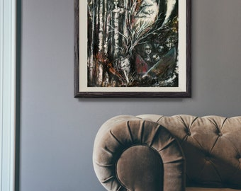 Mixed Media Wolf Art  - Surreal Mixed Media Art - Giclee Art Print - Tree Talker Art
